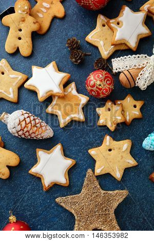 Christmas Gingerbread Cookies And New Year Bauble