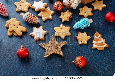 Christmas Gingerbread Cookies In The Shape Of Star And New Year Bauble