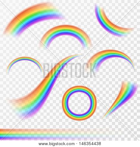 Set of realistic rainbows in different shape on transparent background. Vector illustration