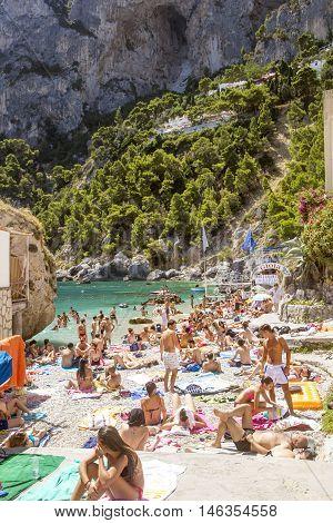 ITALY CAPRI ISLAND - AUGUST 6 2016: Marina Piccola beach on Capri Island in Italy