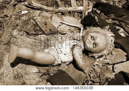 Nuclear doll. Chernobyl area. Lost city Pripyat. Modern ruins. Ukraine. Kiev region