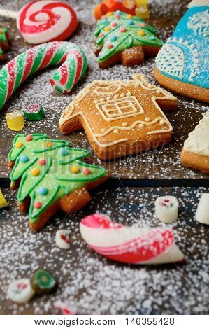 Ginger Christmas Cookies, Cane And Candy Strewn With Snow