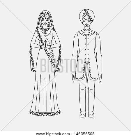 South Asia beautiful woman and man wearing indian traditional cloth, hinduism costume, sari on white background outline