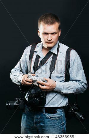 Photographer Man With Journalist Cameras