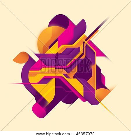 Abstract style digital illustration in color. Vector illustration.