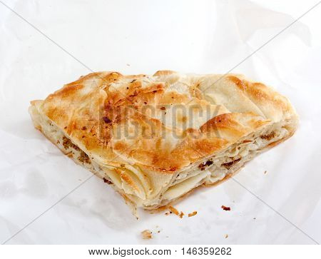picture of a Burek with meat , a traditional Balkan food,