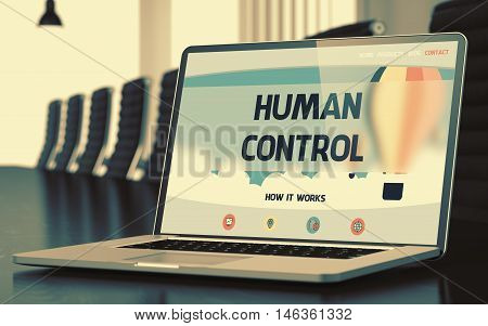 Human Control on Landing Page of Laptop Screen in Modern Conference Room Closeup View. Toned Image. Blurred Background. 3D Rendering.