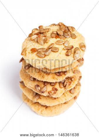 Cookies with seeds isolated on white background