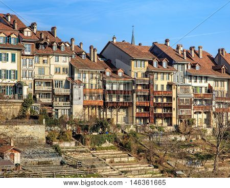 Bern, Switzerland - 29 December, 2015: buildings in the old town view from the Kirchenfeld bridge. The city of Bern is the capital of Switzerland and the fourth most populous city in Switzerland.