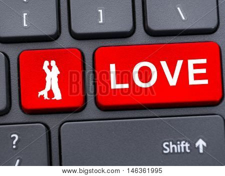 Red Button Of Love And Couple On Keyboard