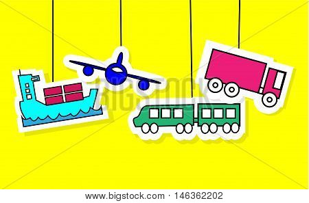 Logistics icons of airplane vessel train and truck with yellow background