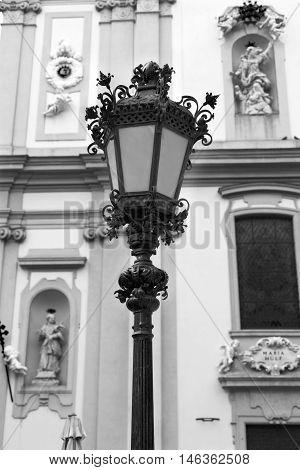 Bronze street lamp decorating a main street in central Vienna Austria