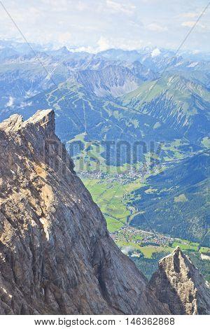 View from mountain Zugspitze Tirol at village of Ehrwald Austria