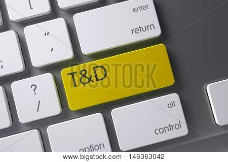 T and D Concept Aluminum Keyboard with TD - Training and Development on Yellow Enter Button Background, Selected Focus. 3D Illustration.