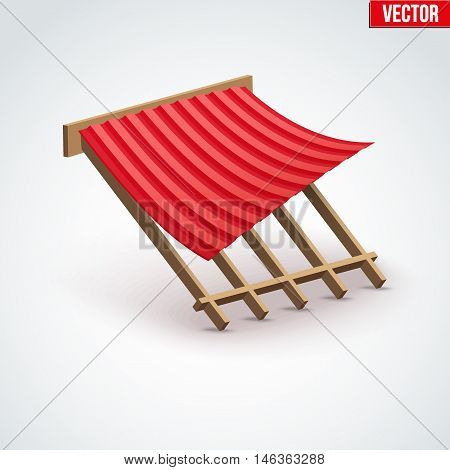 Icon red metal roofing cover on the roof. Demonstration of coatings and materials. Vector Illustration isolated on white background.