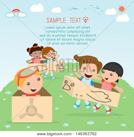 happy cartoon kids in a cardboard airplane, Creative kids plays with his cardboard airplane, kids playing, happy child, Vector Illustration.
