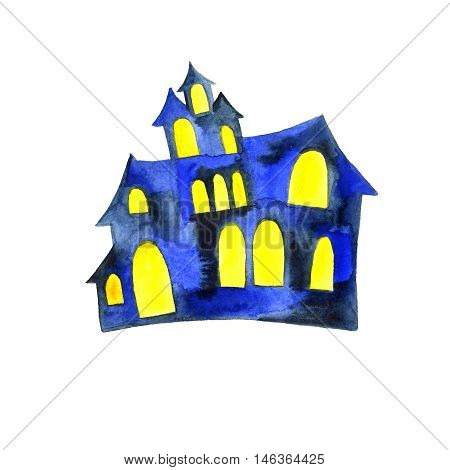 Hand paint watercolor helloween old house with glowing windows.