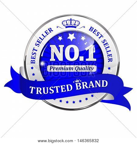 Trusted brand, best seller, premium quality - shiny golden blue icon / ribbon for retail companies. Vector.