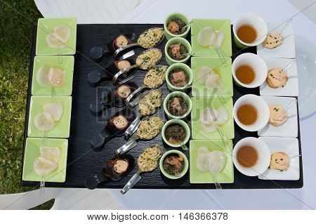 Food Buffet In Luxury Restaurant. Buffet Catering Food Arrangement Table.