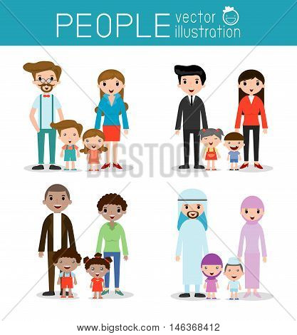 set of Happy family, Different nationalities and dress styles, people character cartoon concept, African-American, Asian, Arab, European,family, mother, father, girl, boy, Vector Illustration