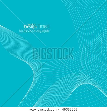 Abstract techno background with lines in waves. Flow popular form vector. Futuristic high tech design for scientific cover book, brochure, flyer, poster, magazine, website. Blue