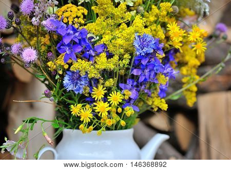 Beautiful bouquet of bright wildflowers. Close up