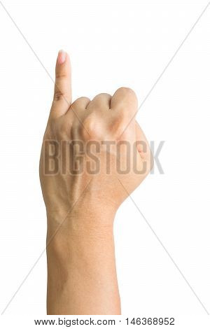 Promise hand sign, hands clenched in a fist with little finger extended.Clipping path included.