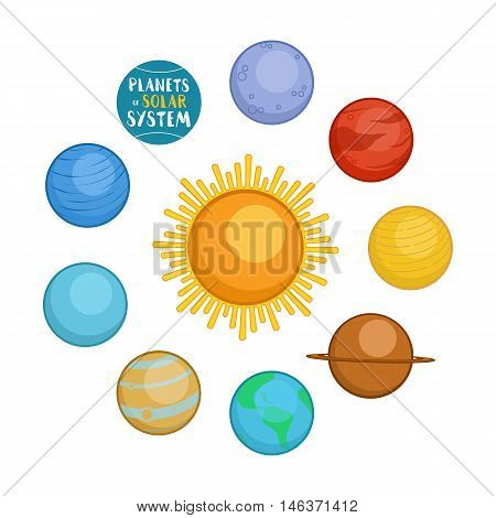 Planets of solar system, cartoon style vector illustration isolated in white background. Cute cartoon style planets - sun, Mercury, Venus, Earth, Mars, Saturn, Jupiter, Uranus, Neptune
