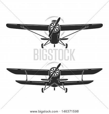 Old Retro Vintage Airplanes Emblem, Icon, Label. Monoplane And Biplane Vector Illustration.