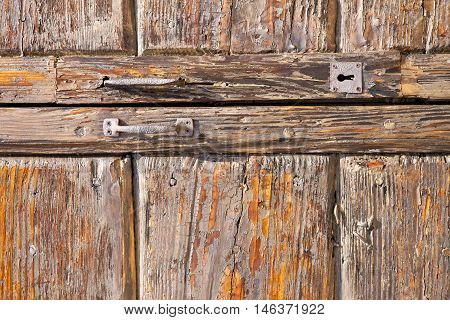 In A  Door Curch  Closed Wood Lombardy Italy  Varese