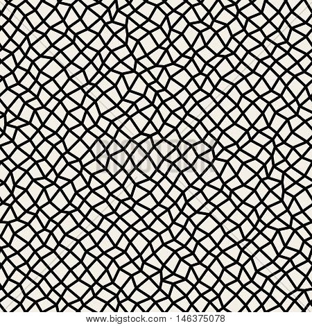 Vector Seamless Black and White Distorted Rectangle Mosaic Diagonal Grid Pattern. Abstract Geometric Background Design
