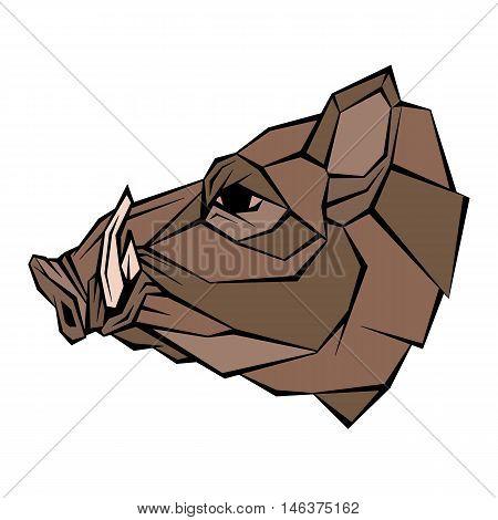 Wild boar head vector illustration style flat  geometric