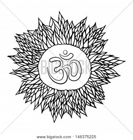 Vector indian spiritual sign ohm. Great design for tattoo, yoga studio, spirituality concepts, trendy textiles