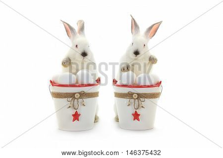 two white rabbit near a bucket with easter eggs