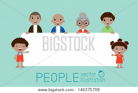 family peeking behind placard, happy family, fun family with a banner ad, Vector Illustration.