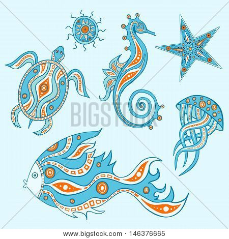 The sea collection which represent jellyfish fish turtle starfish sea urchin sea horse. Graphic design elements. Set of ocean animals.