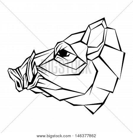Wild boar head vector illustration style geometric