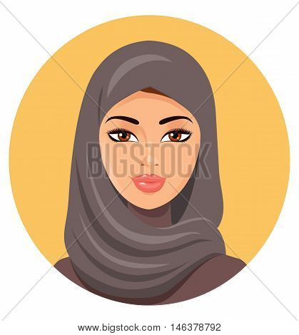 Beautiful face of arabic muslim woman in hijab, vector illustration . Eps10. Isolated on a white background.