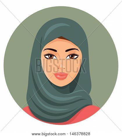 Portrait of a young muslim women in hijab. Vector illustration. Eps10. Isolated on a white background.