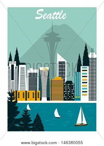 Seattle city in Washington n bright colors