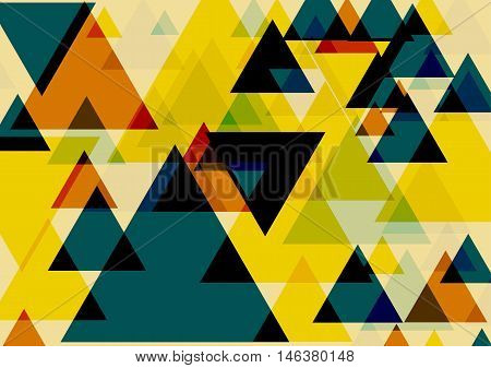 Pop art triangles colorful background. Three dimentional fantasy triangles pattern. Vector EPS 10