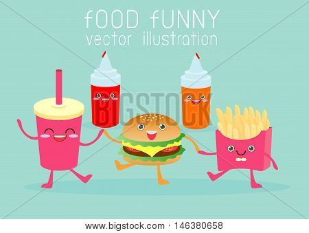 fast food, food funny,cartoon fast food, set Vector Illustration. Fast food. Flat design.