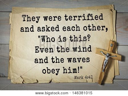 TOP-350. Bible verses from Mark.They were terrified and asked each other,
