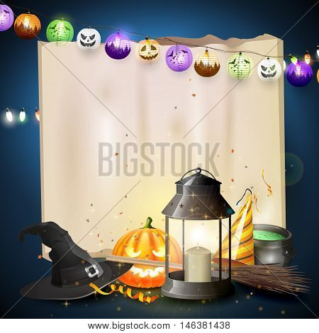 Happy Halloween greeting card with black lantern old hat pumpkin broom and party hat in front of old paper