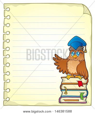 Notebook page with owl teacher 3 - eps10 vector illustration.