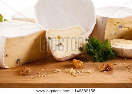 Camembert on cutting board
