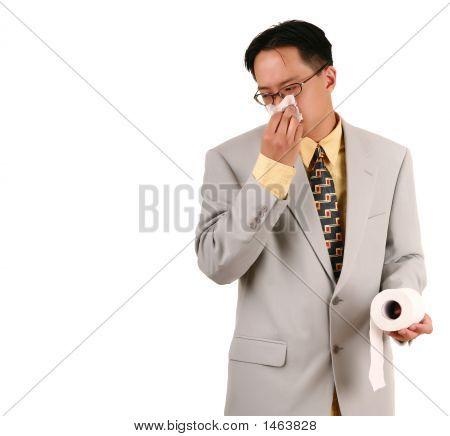 Biz Man Blow His Nose With Napkin