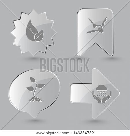 4 images: leaf, bats, sprout, weather in hands. Nature set. Glass buttons on gray background. Vector icons.