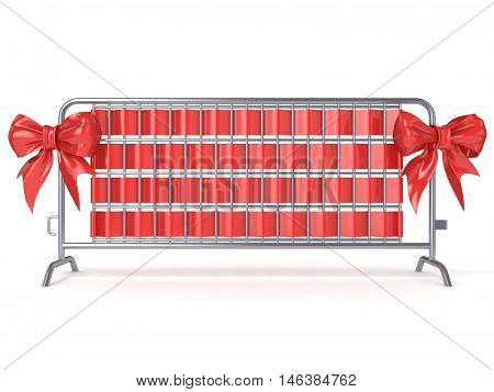 Steel barricades with red ribbon bows. Front view. 3D render illustration isolated on white background