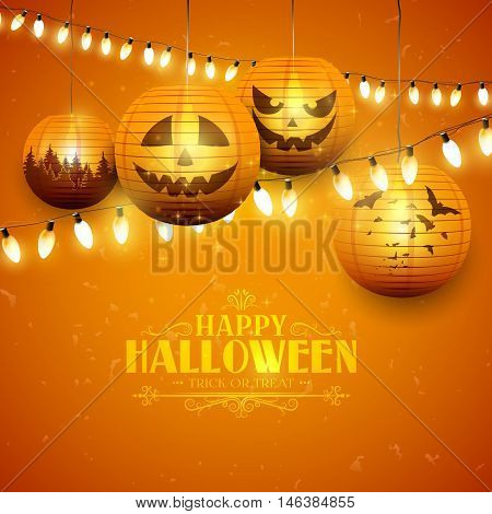 Halloween greeting card with paper lanterns and lights on orange background